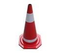 70cm Rubber traffic cone with 2 strips