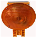 Yellow Traffic cone light with solar panel