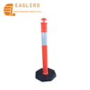 Black Rubber Base Bollard T-Top Warning Post