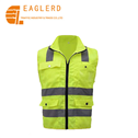 High visibility reflective vest with collar and pockets